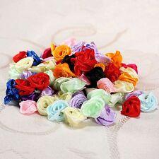 100pcs Satin Ribbon Rose Flower Wedding Decor Appliques Clothes Sewing DIY Craft