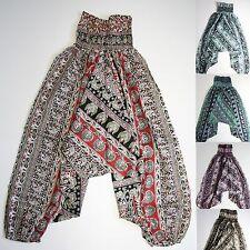 Pantalón Pantalones Anchos Aladín Algodón Bombacho Sarouel India Hippy elefantes