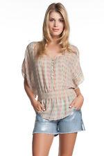 Parker Elastic Waist Button Top Sprinkles V Neckline Silk Chiffon Silk Striped