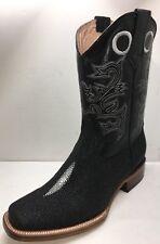 Men's Genuine Leather Print Stingray Cowboy Boots Black Square Toe