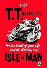Vintage década de 1960 TT Isla de Man Moto Motocicleta Race A3 cartel volver a imprimir