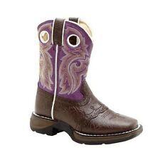 "Durango Lil' BT286 Youth Girls Dark Brown And Purple Lacey 8"" Western Boots"