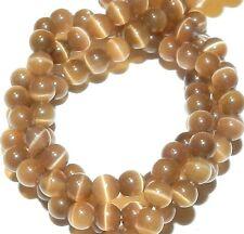 "G1623f Light Cocoa Brown 4mm Round Cat's Eye Fiber Optic Glass Beads 14"""