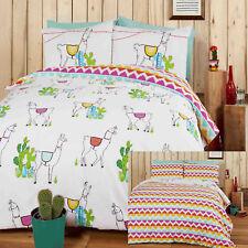 HAPPY LLAMAS Cactus Aztec Funky Printed Reversible Duvet Cover/Quilt Cover Set