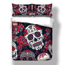 Red Flower Floral Skull Duvet Cover Pillow Case Twin Full Queen King Bedding Set