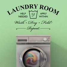 Laundry Room Help Needed Wash Dry Fold Repeat Vinyl Wall Decal Vinyl Wall Art