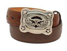 Nocona Western Boys Belt Kids Leather Floral Tooled Longhorn Star Brown N4428602