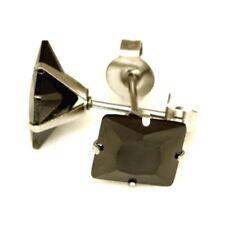 Titanium Titan Ohrstecker Ohrringe Silber Biker Herren Zirkonia viereck schwarz