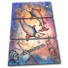 Zodiac Pisces  Starsign TREBLE TOILE murale ART Photo Print