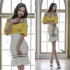 Élégant refinada vestido mujer amarillo blanco escotado por detrás slim 3351