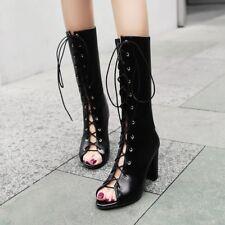 Women Gladiator Lace Up Peep Toe Block High Heel Mid Calf Boots Roman Solid Shoe