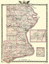 Old County Map - Gallatin, Hardin Illinois Landowner - 1876 - 23 x 29.94