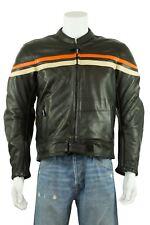 Osx New Mens Orizonal Stripes Jacket Black Biker Racer Leather Zip Rock