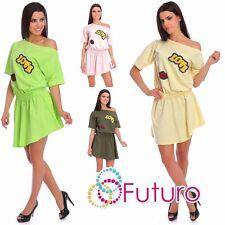 Ladies Asymmetric Skater Dress Mini Tunic Love Print One Size 8-14 AU 2485