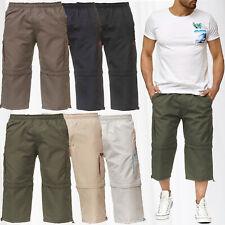 Herren Cargo Shorts Zip Off Pants 3/4 Hose Uni Kurze Bermuda 7/8 Cargohose 2in1