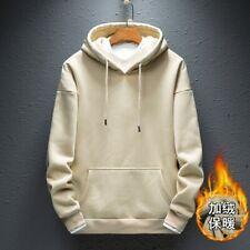 Men's Hooded Sweatshirt Pullover Plain Winter Tops Pocket Hoodies Casual Loose
