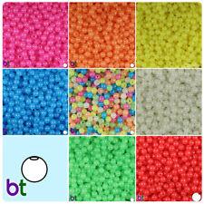 BeadTin Glow 6mm Round Plastic Craft Beads (500pcs) - Color choice