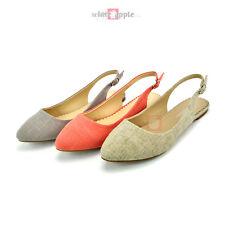 Women Almond Toe Comfort Slip On Casual Slingback Linen Canvas Flat Shoe Risano
