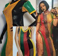 Ladies Multicoloured Rasta Side Slit String Mesh Maxi Dress Rihanna Free Size