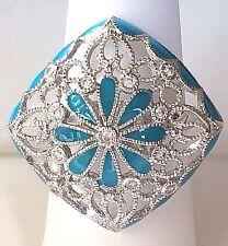 Silver Aqua Blue Art Deco Flower Ring Plated Vintage Cubic Zirconia Size 9 10