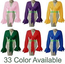 Cotton Belly Dance Tie Wrap Choli Gypsy Top Haut Danse Blouse Ruffle 33 Colors