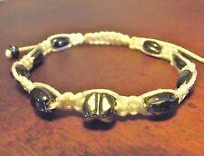 Bracelet Shamballa Perle céramique noir cordon blanc Homme Femme shambala cadeau