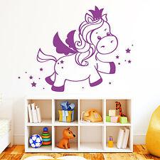 12250 Pegatina pared unicornio Prinzessin CORONA estrellas Dormitorio Infantil