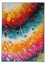 Teppich Kurzflor Hochwertig Bunt-5020 Türkis Orange Rosa Weiß 120 140 160 200