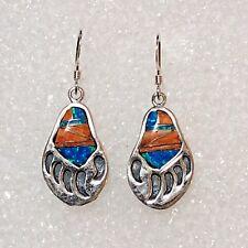 Sterling Silver Inlay Multi Stone Bear Paw Shape Opal Turquoise Hook Earrings