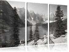 Morrena Lake Canadiense Montañas Arte Carbón Efecto 3-Teiler Foto en Lienzo