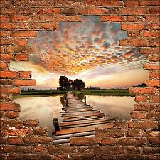 Sticker mural trompe l'oeil mur de pierre pont sur l'eau réf 856