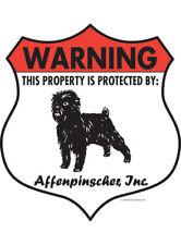 "Warning! Affenpinscher - Property Protected Aluminum Dog Sign - 7"" x 8"" (Badge)"