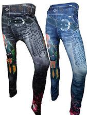 Leggings Hose Damen Jeans Print Muster S M L Gürtel Football One Size