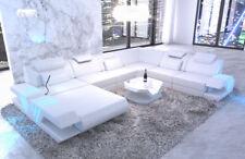 Wohnlandschaft XXL Luxus Sofa Echtleder Couch VENEDIG Ottomane  LED + USB weiss