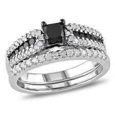 Sterling Silver 1 ct TDW Black and White Diamond Ring Set H-I I2-I3