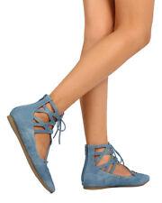 New Women Liliana Mila-67 Denim Gilly Tie Pointy Toe Zip Ballet Flat