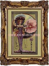 """ART NOUVEAU VICTORIAN Pansy FAIRY """"Vanity"""" Fashion Romantic Antique ART PRINT"""