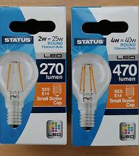 2w/4w LED Round Clear Filament Bulb SES E14 Small Screw In 2 4 10 Bulbs 25w/40w