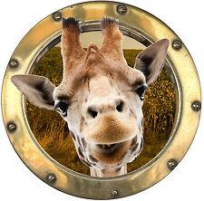 Sticker trompe l'oeil déco Girafe réf:hublot 1102
