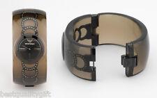 NEW EMPORIO ARMANI DONNA BLACK RESIN CRYSTALS BRACELET BANGLE WATCH AR0796+BOX