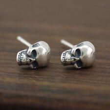 925 Sterling Silver Skull Skeleton Post Stud Earring Men Women A1531