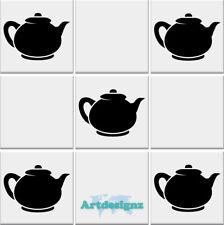 TEAPOT TEA POT #2 Tile Stickers Kitchen Vinyl Wall Art Decal Transfer