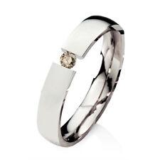 Verlobungsring Ehering mit einem 0,08ct. Diamant Trauring aus Edelstahl ELB30D