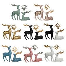 2pcs Christmas Deer Statue Resin Reindeer Figurine Cute Deer Ornament