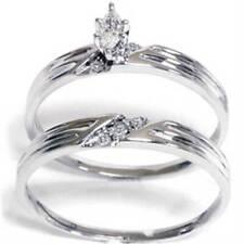 1/4ct Marquise Pave Diamond Ring Set 14K White Gold