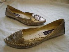 CHIFFON Womens Silver Leather Slip on Flats Ballerinas Wedding Shoes Sz UK 3 4 5