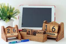 NEW Wooden desktop perpetual block calendar. PREMIUM Solid Acacia . 3 variations