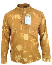 Oro Lavaggio Acido A Serafino Mao Colletto Surf Casual Vintage Hippie Maglia