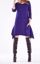 NEW BCBG SWEATER DRESS BLUE DAHNYA XXS XS S M L 0 2 4 6 8 10 12 Leather WOOL