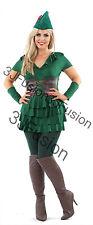 Ladies Adulto Disfraz De Peter Pan Robin Hood Sexy Traje De Cuento De Hadas Libre Post (y)